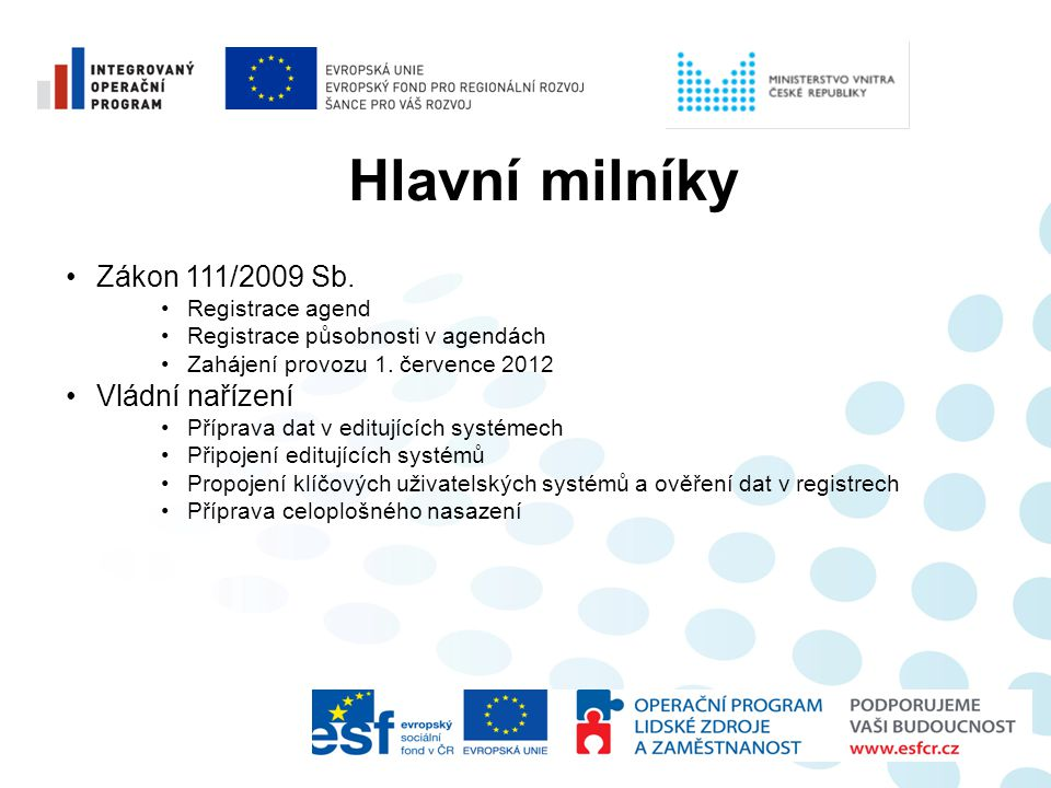 Hlavní milníky Zákon 111/2009 Sb. Vládní nařízení Registrace agend