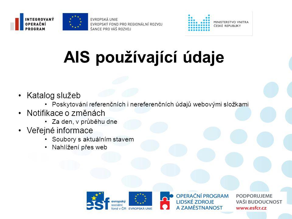AIS používající údaje Katalog služeb Notifikace o změnách