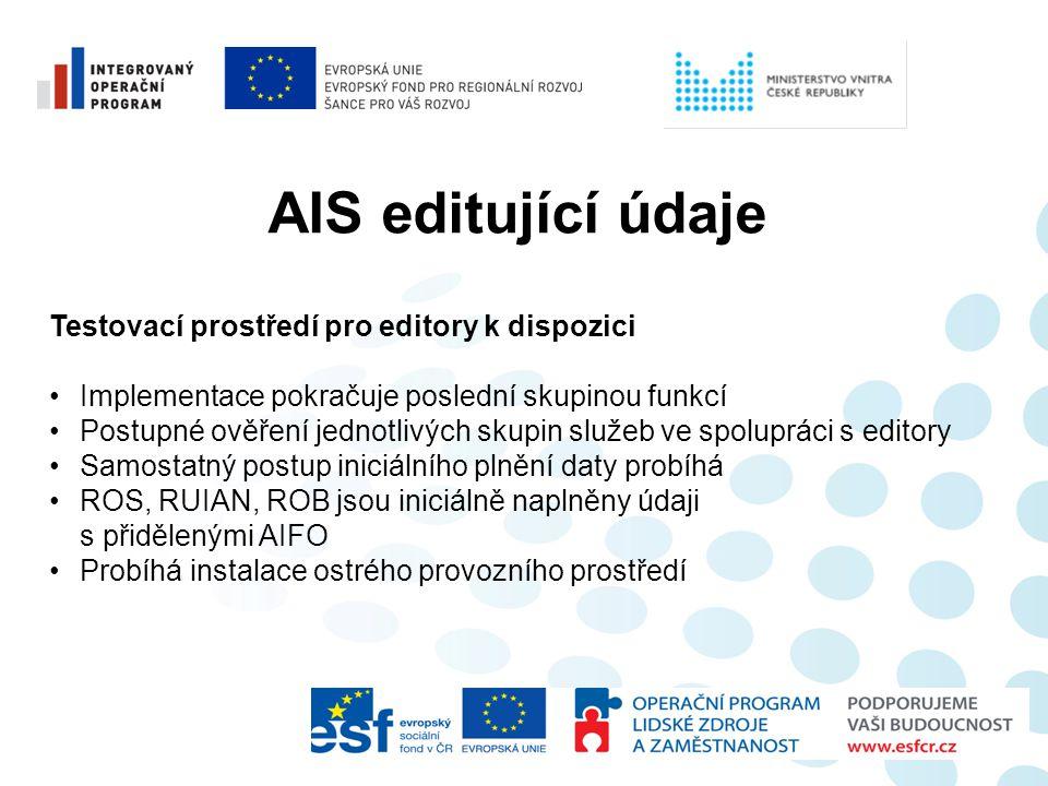 AIS editující údaje Testovací prostředí pro editory k dispozici