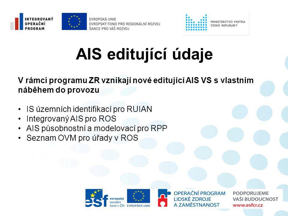 AIS editující údaje V rámci programu ZR vznikají nové editující AIS VS s vlastním. náběhem do provozu.