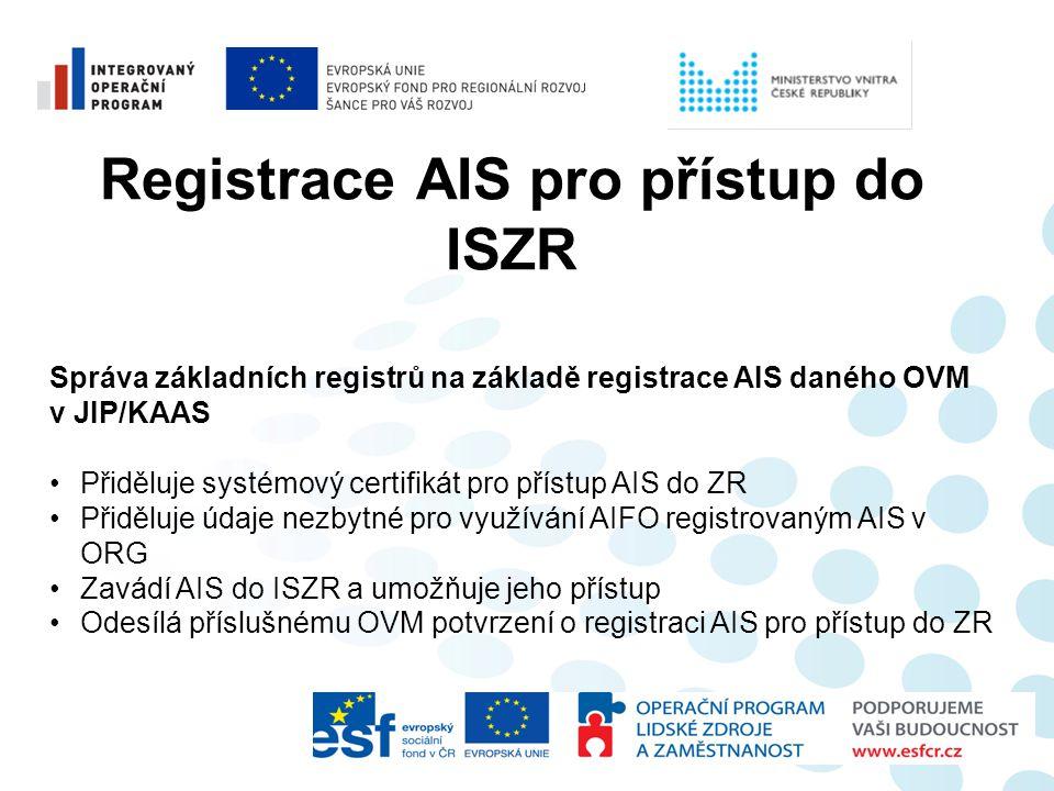 Registrace AIS pro přístup do ISZR