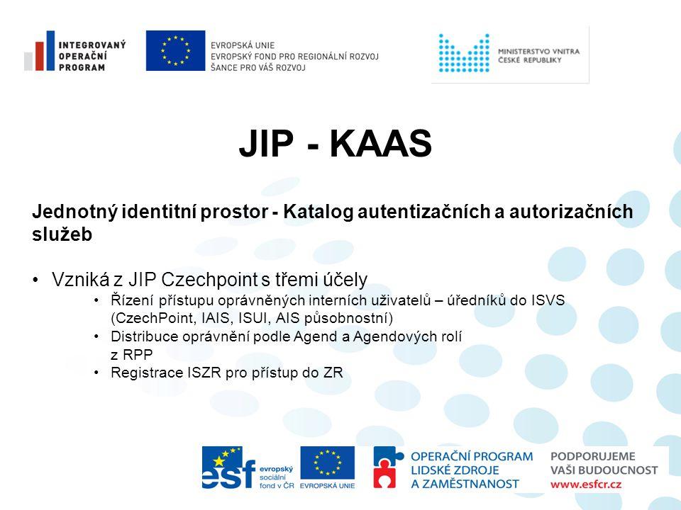 JIP - KAAS Jednotný identitní prostor - Katalog autentizačních a autorizačních. služeb. Vzniká z JIP Czechpoint s třemi účely.