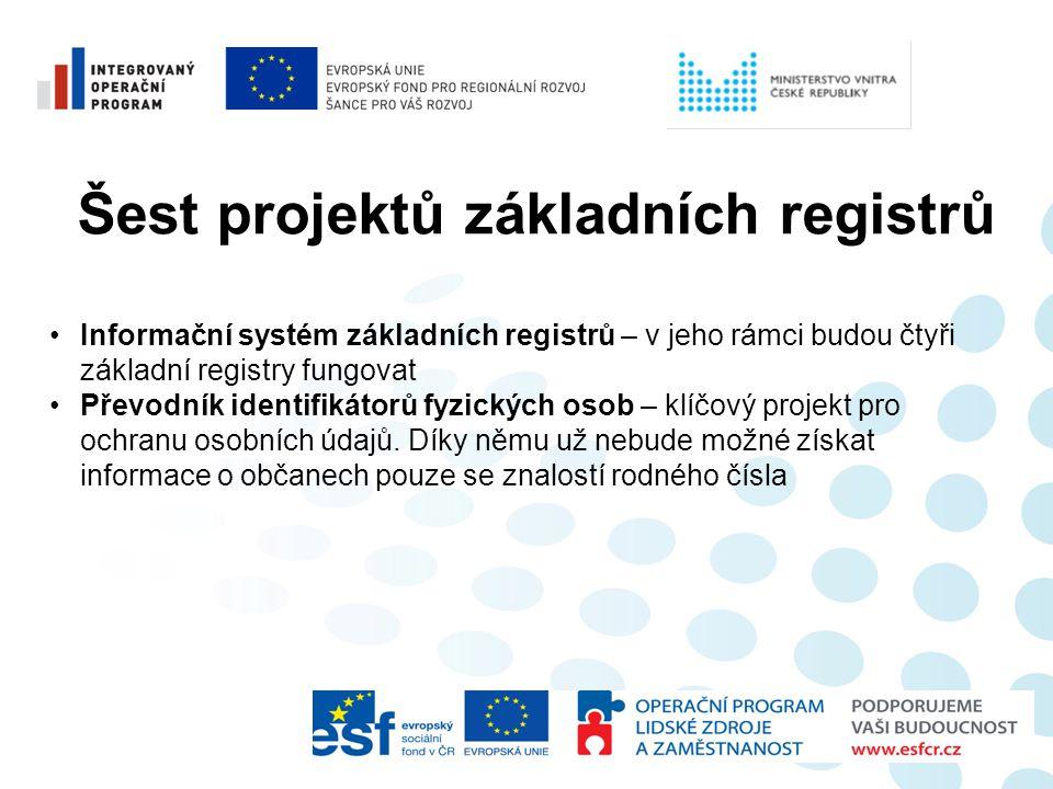 Šest projektů základních registrů