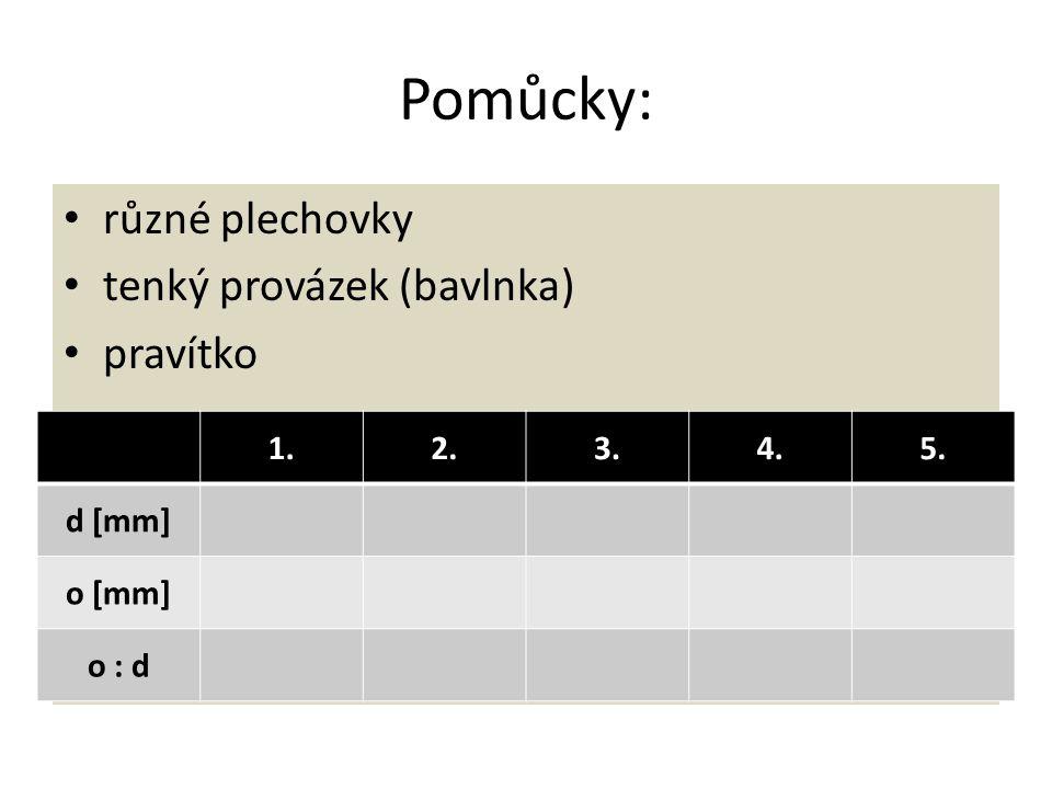 Pomůcky: různé plechovky tenký provázek (bavlnka) pravítko 1. 2. 3. 4.