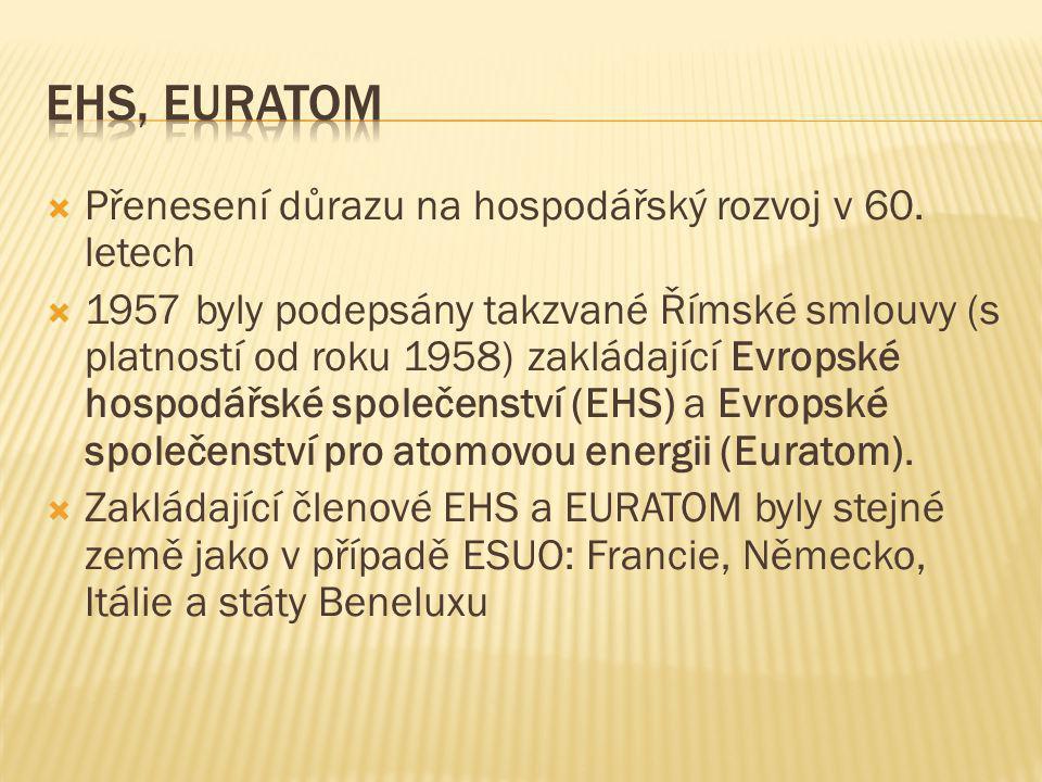EHS, Euratom Přenesení důrazu na hospodářský rozvoj v 60. letech