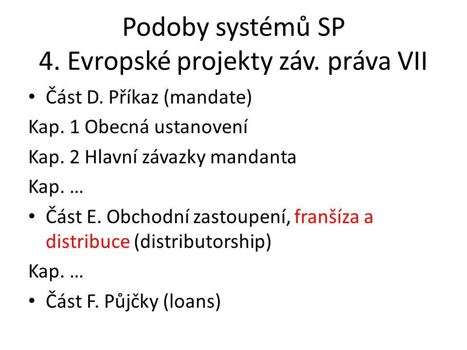 Podoby systémů SP 4. Evropské projekty záv. práva VII