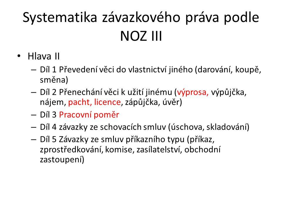 Systematika závazkového práva podle NOZ III