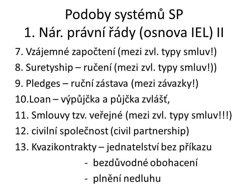Podoby systémů SP 1. Nár. právní řády (osnova IEL) II