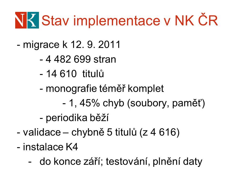 Stav implementace v NK ČR