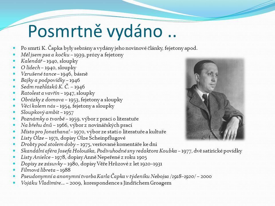 Posmrtně vydáno .. Po smrti K. Čapka byly sebrány a vydány jeho novinové články, fejetony apod. Měl jsem psa a kočku – 1939, prózy a fejetony.