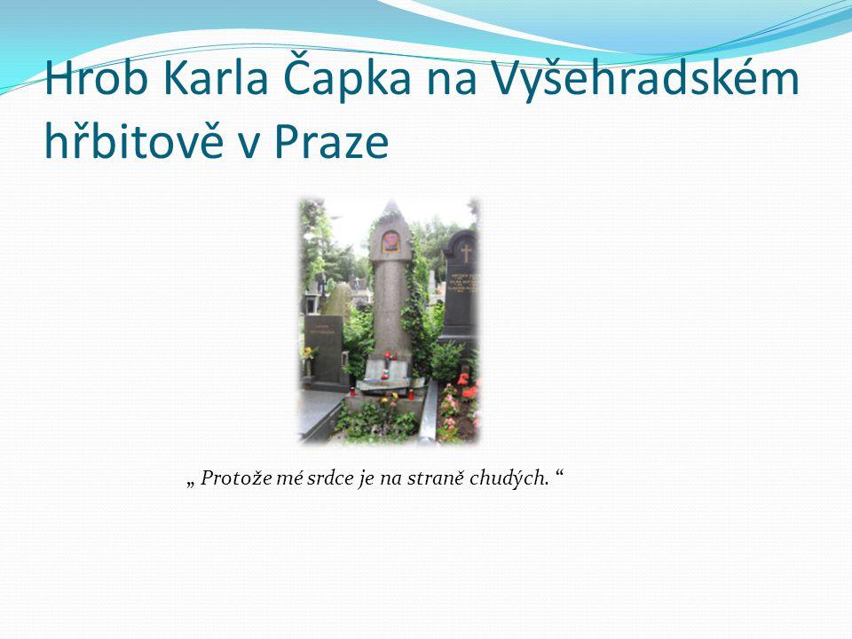 Hrob Karla Čapka na Vyšehradském hřbitově v Praze