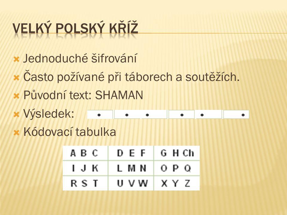 Velký polský kříž Jednoduché šifrování