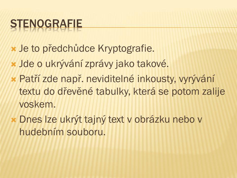 Stenografie Je to předchůdce Kryptografie.