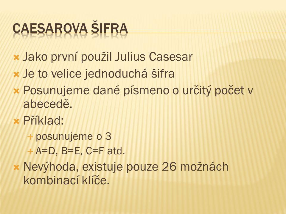 Caesarova šifra Jako první použil Julius Casesar