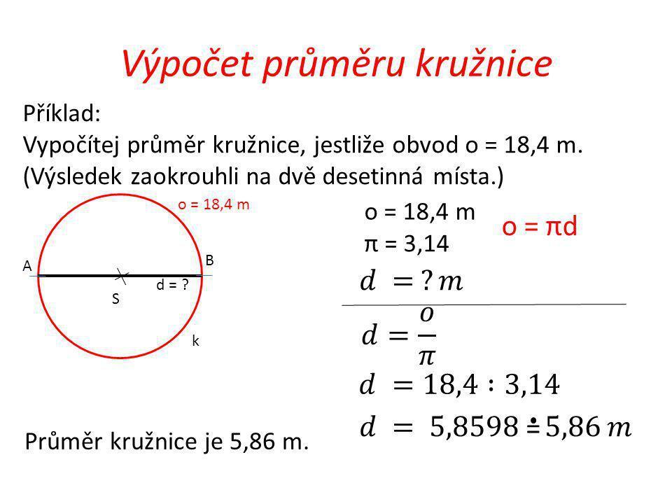 Výpočet průměru kružnice