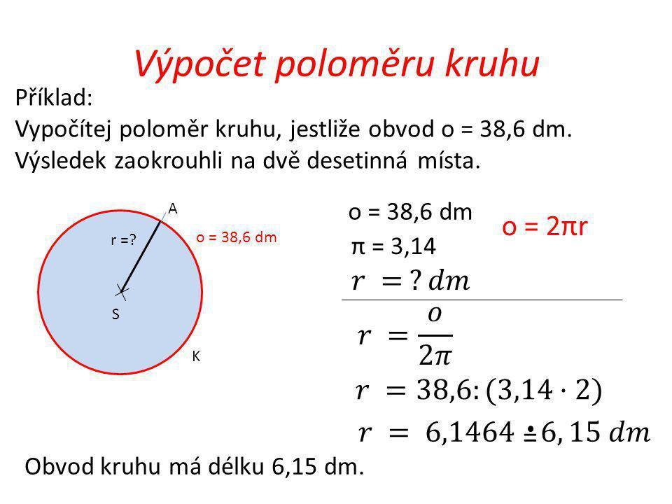 Výpočet poloměru kruhu