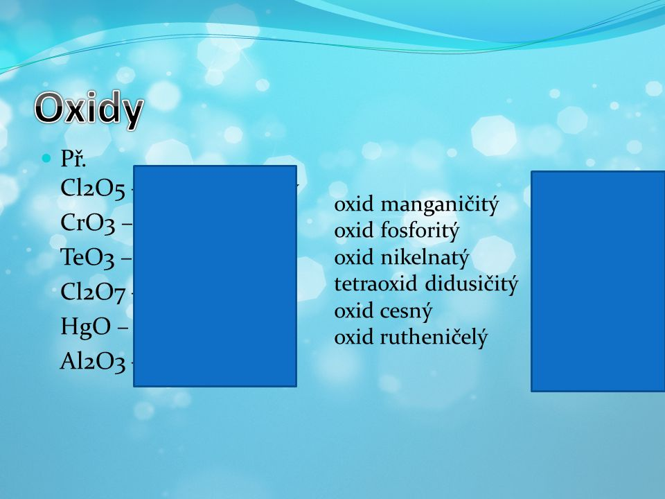 Oxidy Př. Cl2O5 – oxid chlorečný CrO3 – oxid chromový