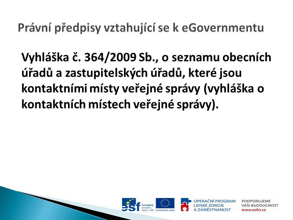 Právní předpisy vztahující se k eGovernmentu