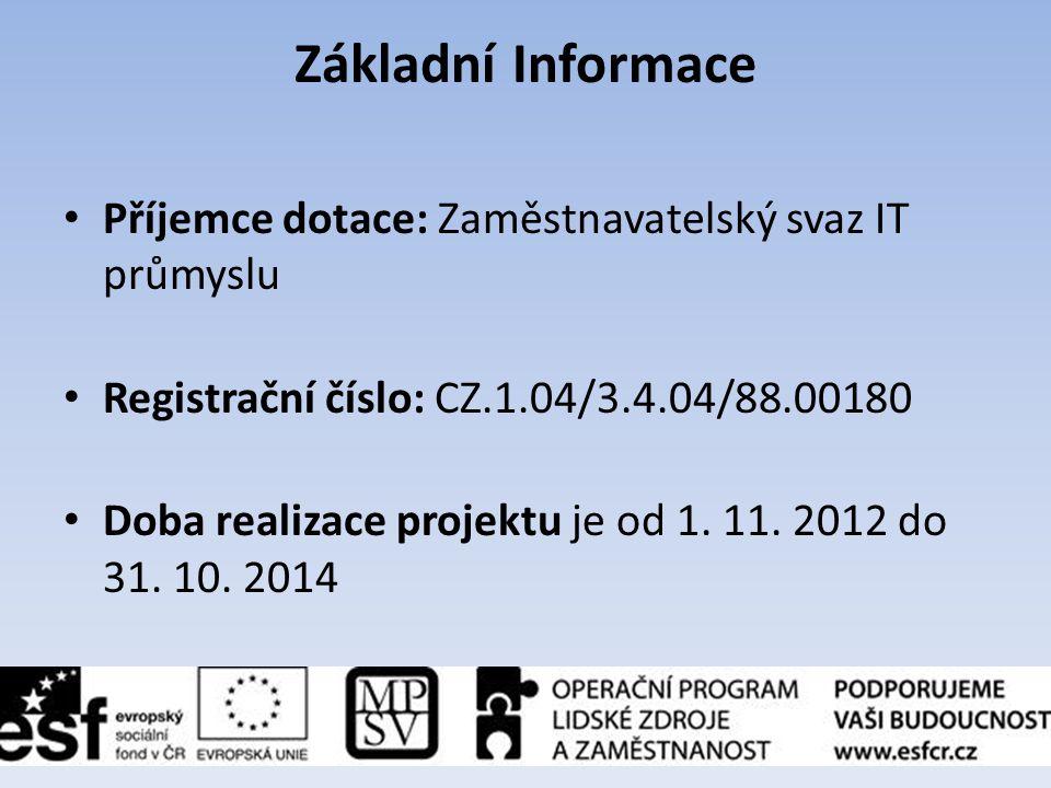 Základní Informace Příjemce dotace: Zaměstnavatelský svaz IT průmyslu