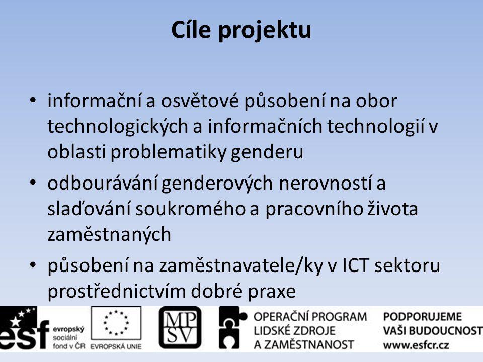 Cíle projektu informační a osvětové působení na obor technologických a informačních technologií v oblasti problematiky genderu.