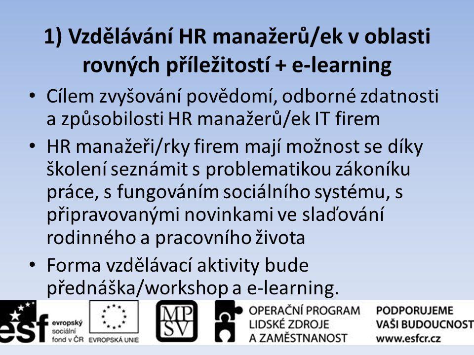 1) Vzdělávání HR manažerů/ek v oblasti rovných příležitostí + e-learning