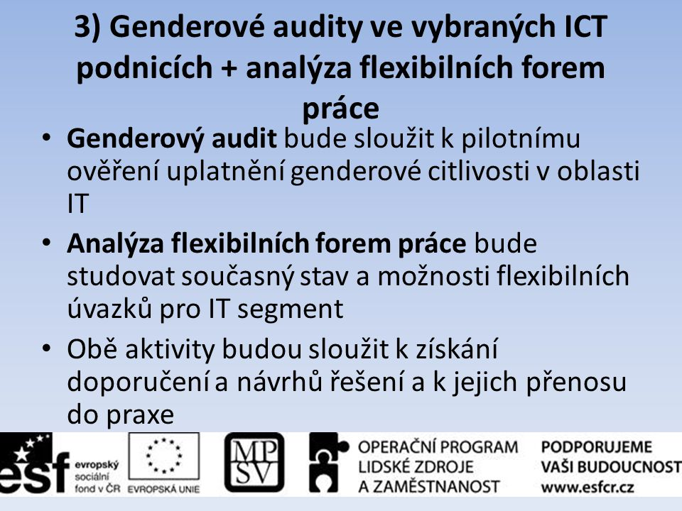 3) Genderové audity ve vybraných ICT podnicích + analýza flexibilních forem práce