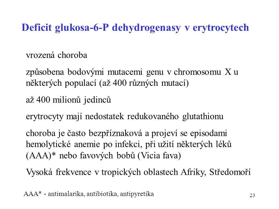 Deficit glukosa-6-P dehydrogenasy v erytrocytech