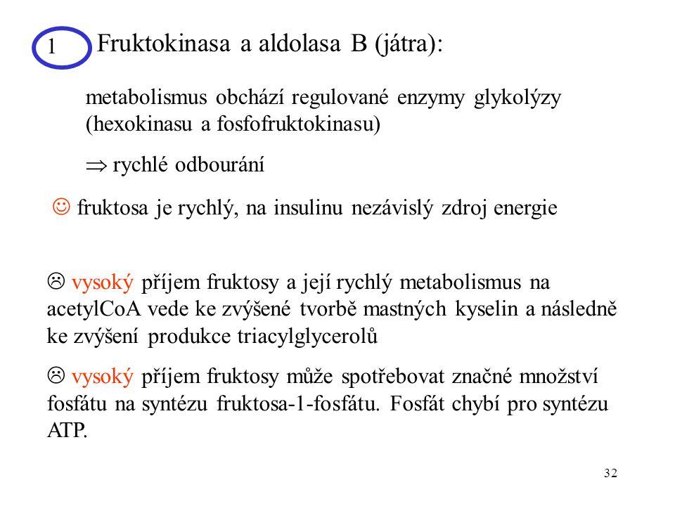 Fruktokinasa a aldolasa B (játra):