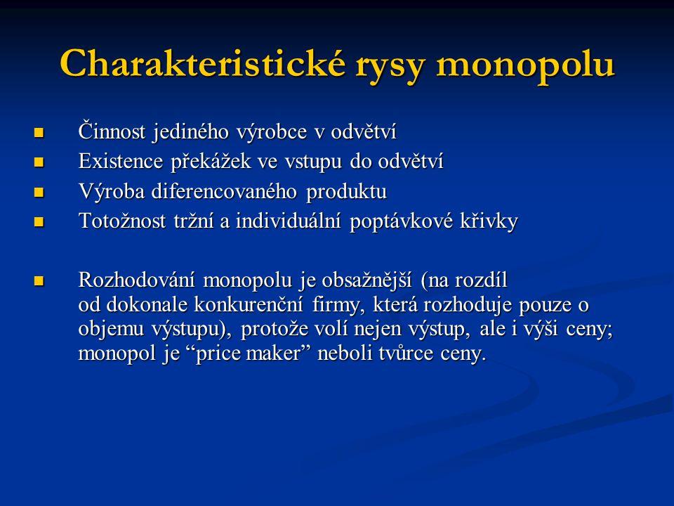 Charakteristické rysy monopolu