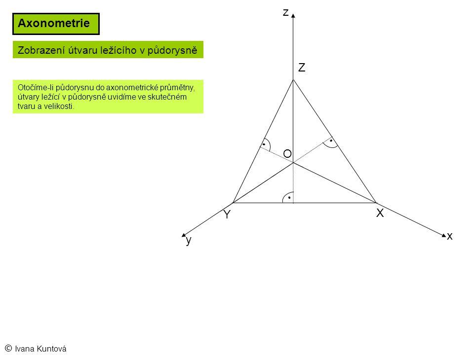 z Axonometrie Z O Y X x y Zobrazení útvaru ležícího v půdorysně