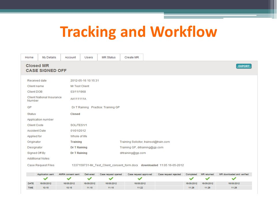 Tracking and Workflow