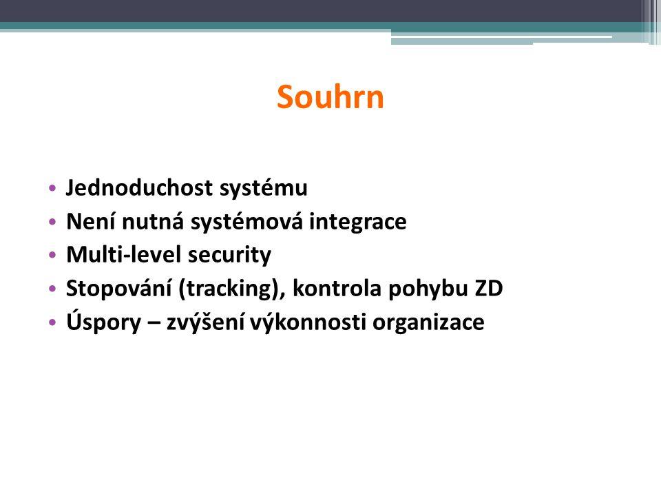 Souhrn Jednoduchost systému Není nutná systémová integrace