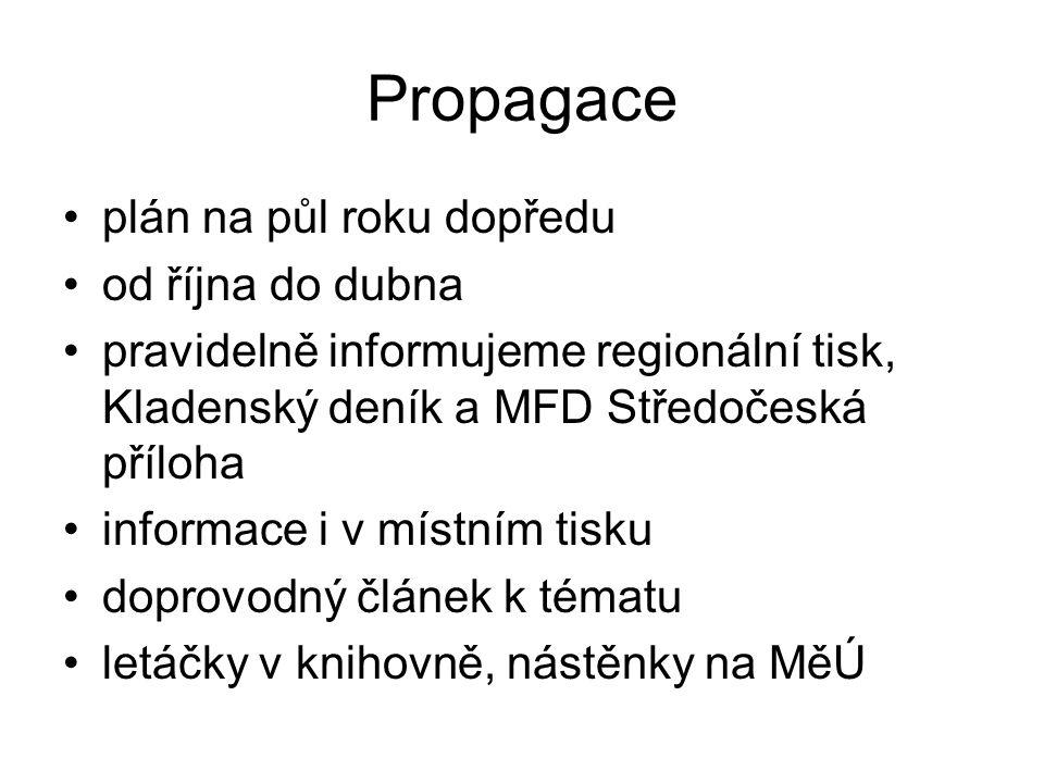 Propagace plán na půl roku dopředu od října do dubna