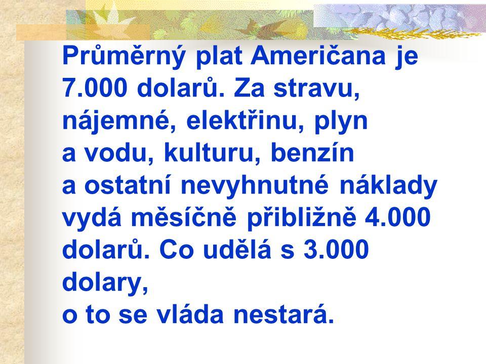 Průměrný plat Američana je 7. 000 dolarů