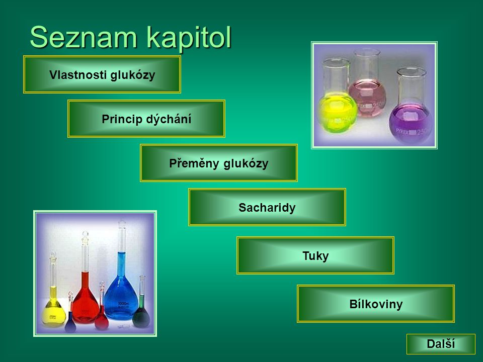Seznam kapitol Vlastnosti glukózy Princip dýchání Přeměny glukózy