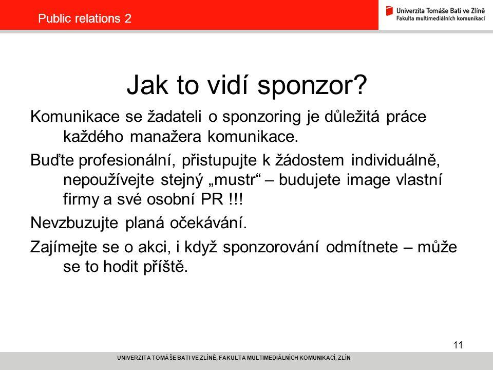 Public relations 2 Jak to vidí sponzor Komunikace se žadateli o sponzoring je důležitá práce každého manažera komunikace.
