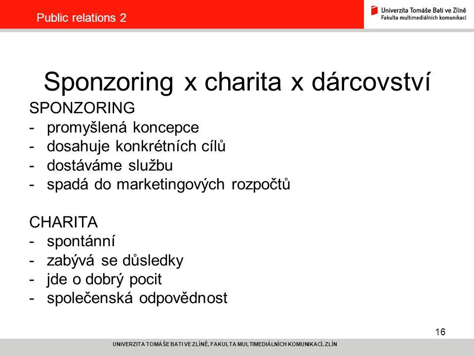 Sponzoring x charita x dárcovství