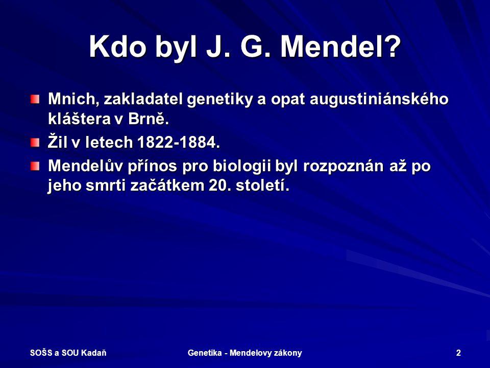 Genetika - Mendelovy zákony
