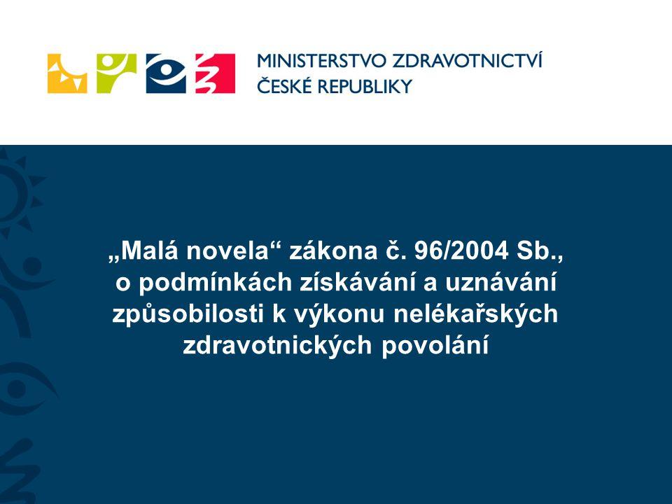 """""""Malá novela zákona č. 96/2004 Sb"""
