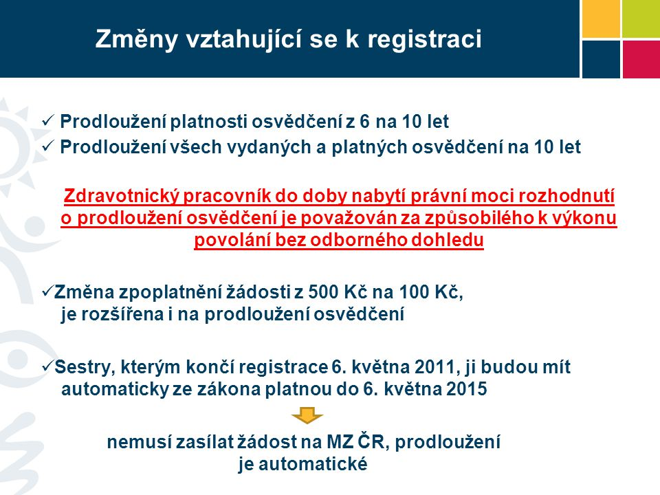 Změny vztahující se k registraci