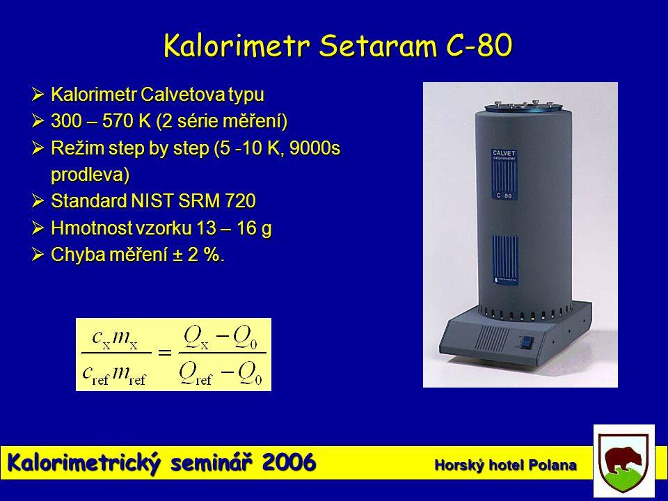 Kalorimetr Setaram C-80 Kalorimetr Calvetova typu. 300 – 570 K (2 série měření) Režim step by step (5 -10 K, 9000s prodleva)