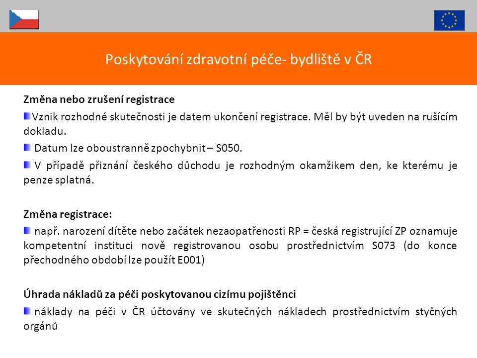 Poskytování zdravotní péče- bydliště v ČR