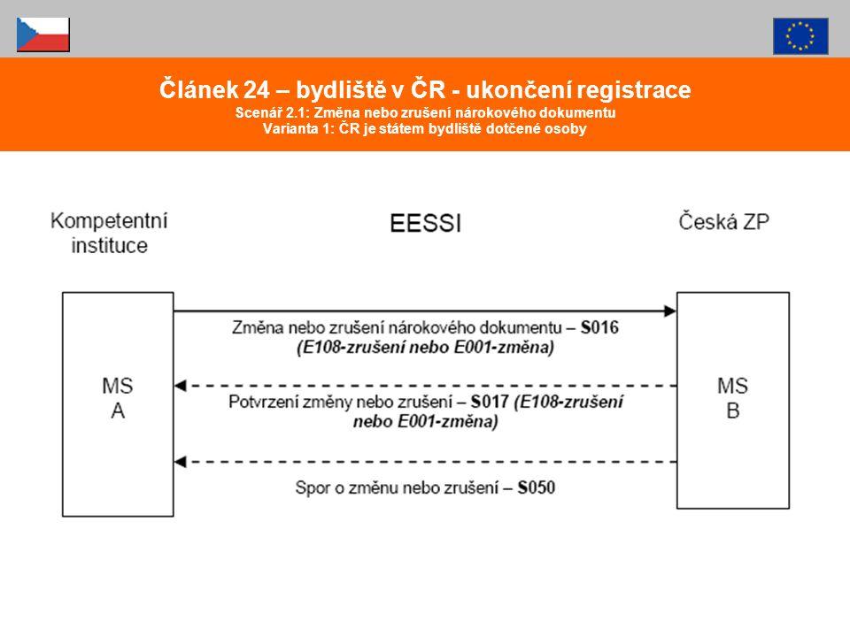 Článek 24 – bydliště v ČR - ukončení registrace Scenář 2