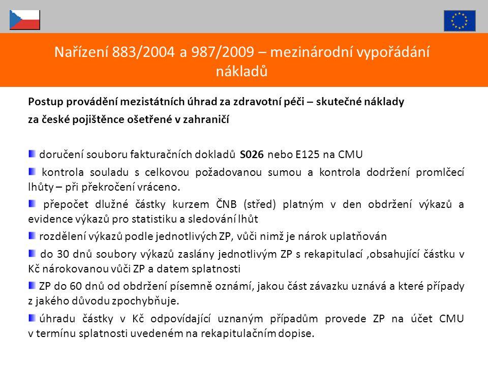 Nařízení 883/2004 a 987/2009 – mezinárodní vypořádání nákladů