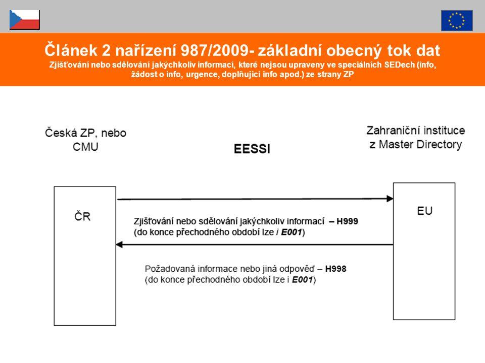 Článek 2 nařízení 987/2009- základní obecný tok dat Zjišťování nebo sdělování jakýchkoliv informací, které nejsou upraveny ve speciálních SEDech (info, žádost o info, urgence, doplňující info apod.) ze strany ZP