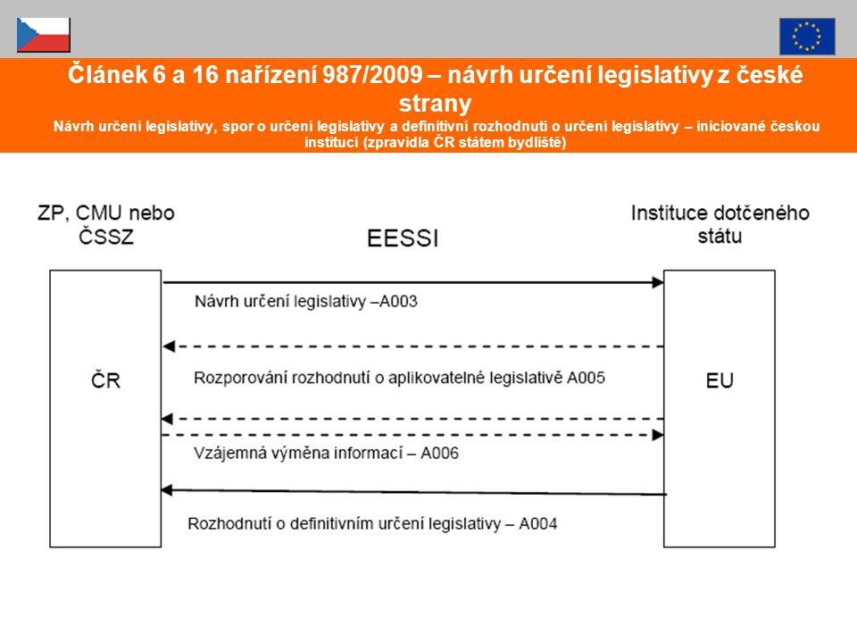 Článek 6 a 16 nařízení 987/2009 – návrh určení legislativy z české strany Návrh určení legislativy, spor o určení legislativy a definitivní rozhodnutí o určení legislativy – iniciované českou institucí (zpravidla ČR státem bydliště)