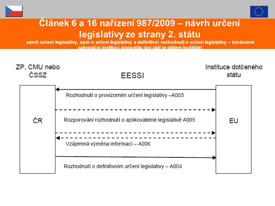 Článek 6 a 16 nařízení 987/2009 – návrh určení legislativy ze strany 2