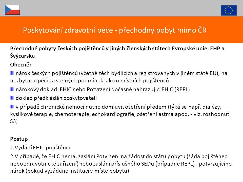 Poskytování zdravotní péče - přechodný pobyt mimo ČR