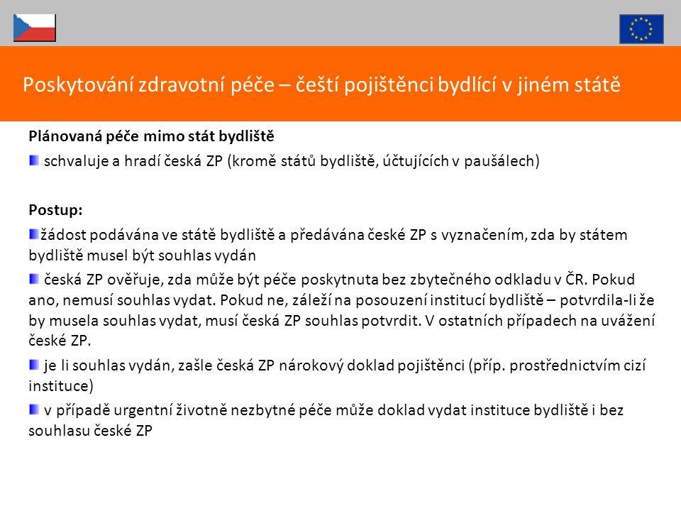 Poskytování zdravotní péče – čeští pojištěnci bydlící v jiném státě
