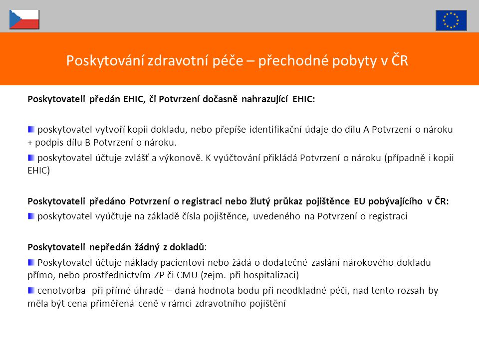 Poskytování zdravotní péče – přechodné pobyty v ČR
